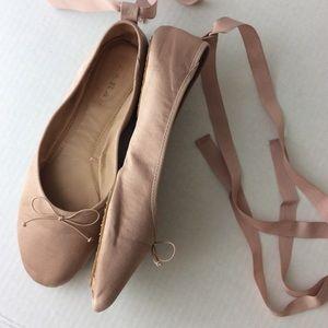 Zara TRF Pale Pink Satin Ballet Flats Ribbon Tie